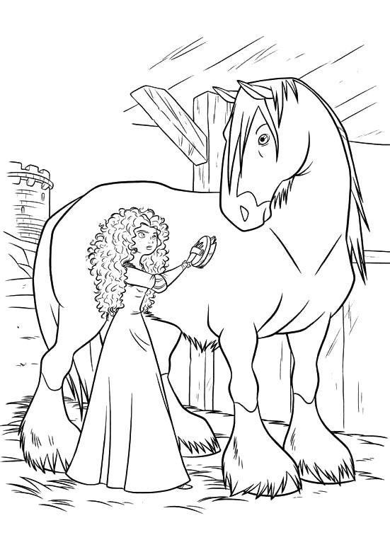 Brave Coloring Pages Merida And Angus Horse Coloring Pages Horse Coloring Disney Coloring Pages