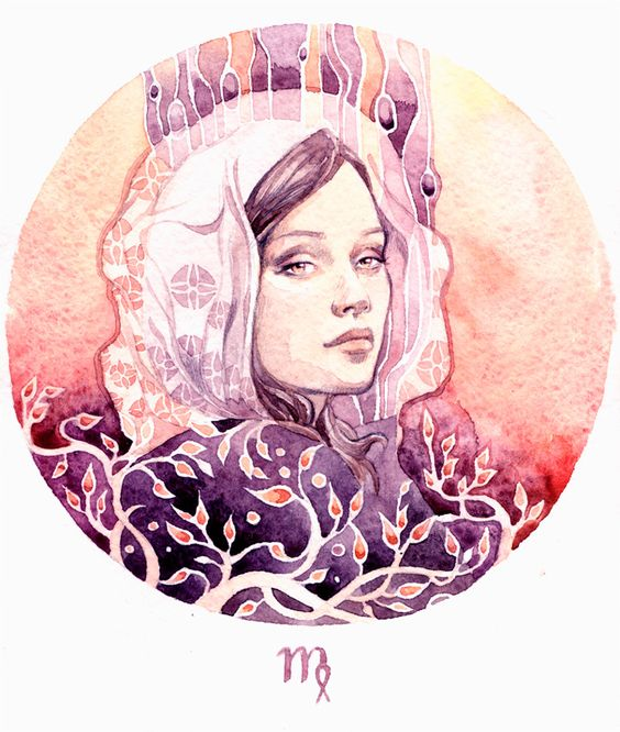Virgo (12 signs of the zodiac, you can see all the pictures in a folder: Watercolor and watercolor pencils.)