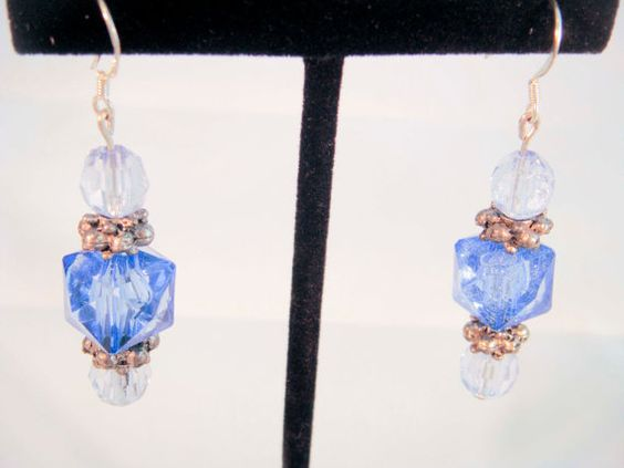 Upcycled Vintage Blue Beaded Earring by PaganCellarJewelry on Etsy, $20.00
