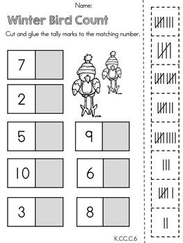 Kindergarten Winter Math Worksheets (Common Core Aligned) | Tally ...