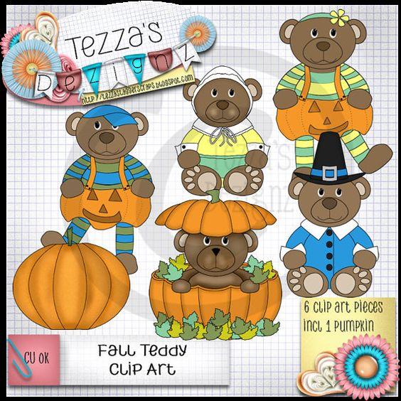 Teddy Fall (Autumn) Clip Art pack