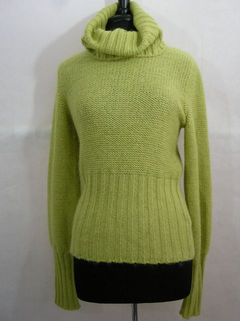 Green Cowl Neck Womens L Sweater Wool Mohair United Colors