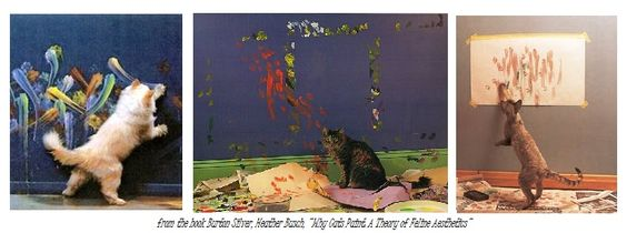 In 1994, Burton Silver and Heather Busch took the art world by surprise by photographing the creativity of cats and paint, in their book Why Cats Paint, A Theory of Feline Aesthetics.   It turns out there are actually a painting kit for cats: A Paint Kit for Cats, by Kitty Casso. I am curious, I want to see what my cats would do, don't you? What would your cat do?
