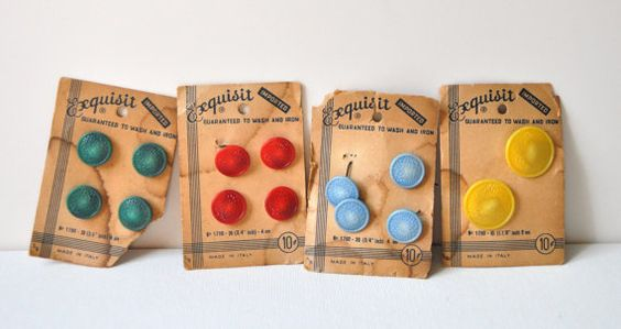Vintage Buttons on Card Multicolored Green Red Yellow Blue Sewing Crafts