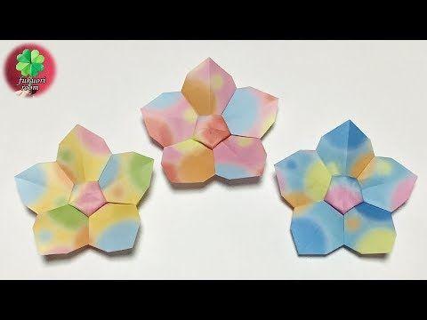 折り紙の花 1枚で可愛い 5枚花びら の花の折り方 Fukuoriroom Youtube 折り紙 花 折り紙 折り紙 花 折り方