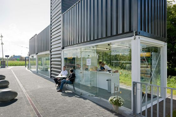 NL architects convert containers into barneveld noord station
