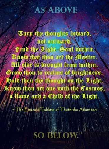 As Above So Below - The Emerald Tablets of Thoth the Atlantean...