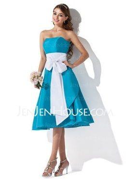 Malibu Blue Bridesmaids Dress with White Sash Malibu -1 - Wedding ...
