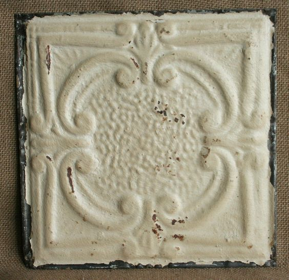 """12"""" Antique Tin Ceiling Tile - Rusty Cream Paint with Pretty Design --- A2"""