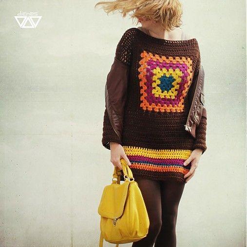 diEnes / eajeresve - retro crochet sweater , granny square pullover