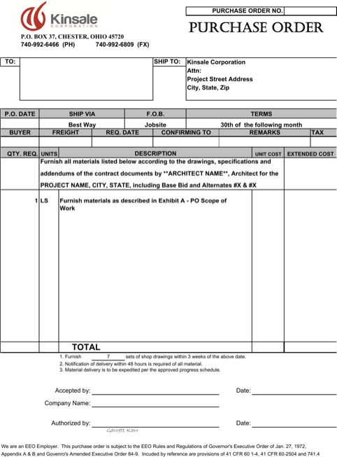 Purchase Order Template TemplatesForms Pinterest – Excel Po Template