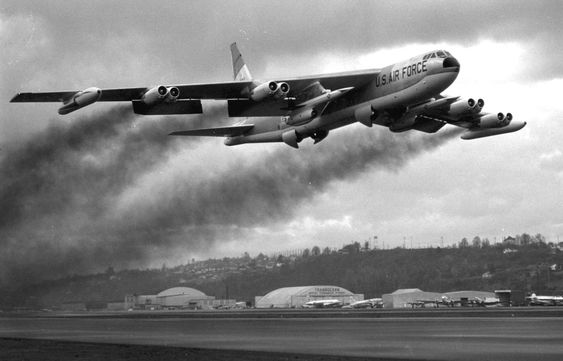 A B-52 takes off carrying two AGM-28 nuclear cruise missiles circa 1960s-1970s [1500961] http://ift.tt/2ePFz5b