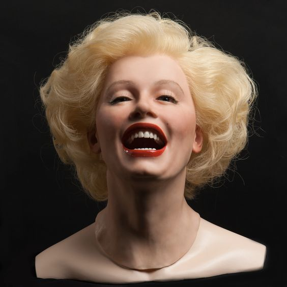 Marilyn Monroe head in silicone with implanted hair. More pics and info at http://museummannequins.com/display-heads/silicone-heads/fsh900-female-silicone-head.html