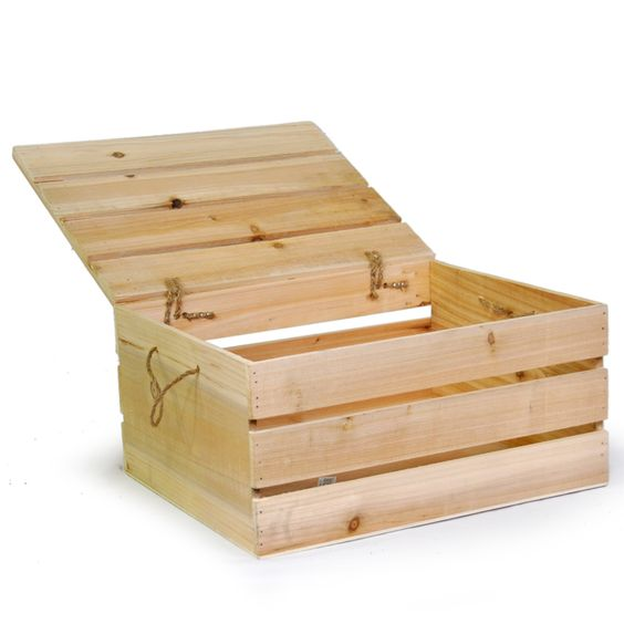 Natural Wooden Crate Storage Box With Lid Large Crafts