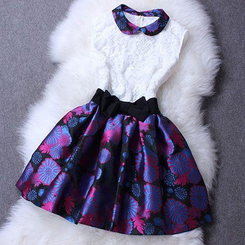 Peter Pan Collar Sleeveless Skater Dress Floral Flared