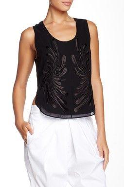 Dandelion Embroidery Silk Tank