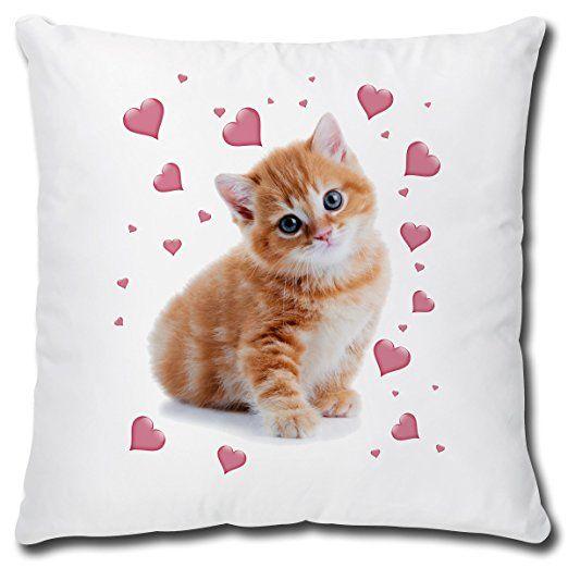 Triosk Kissen Katzenmotiv Katze Rosa Herzen Geschenk Frauen