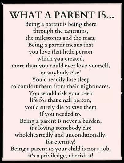 Being a parent.... Few parents think about themselves and remind the child that they are a burden... I lived with that and I don't understand it. #ParentingDaughters