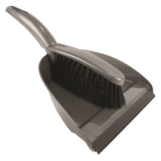Metallic Grey Addis Plastic Dustpan /& Brush Dust Pan Cleaning Set
