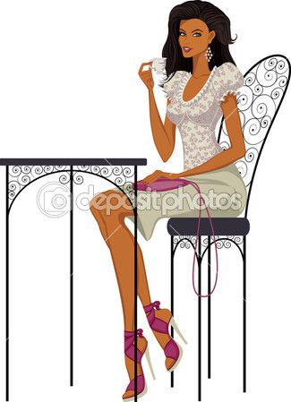 Woman with cup of coffee — Stock Vector © Mikhaylova #6016122