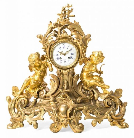 French Napoleon III-style gilt-bronze table clock, last quarter of the 19th century Relojero G. Phil