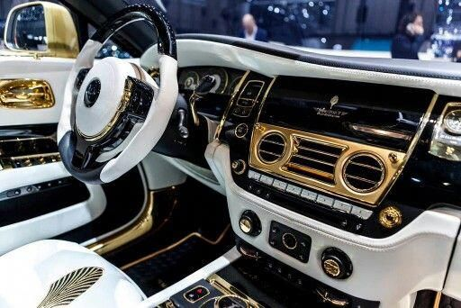 White And Gold Custom Rolls Royce Wraith Interior