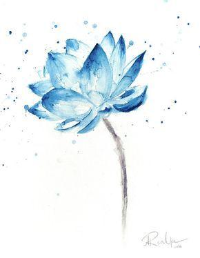 Impresión de Lotus, Lotus pintura, arte de pared de la flor de loto, acuarela de Lotus, Lotus, Lotus acuarela, arte de la pared de loto, flores acuarela azul