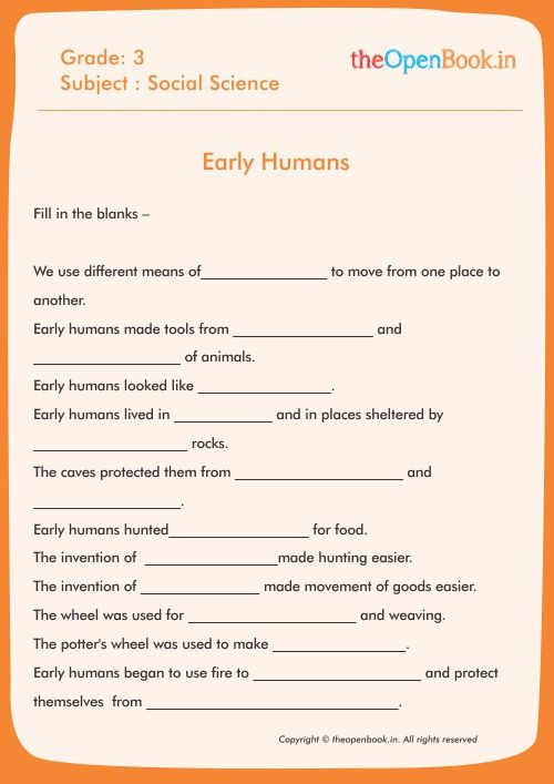 Image Result For Worksheets On Early Humans Grade 3 Human Grade