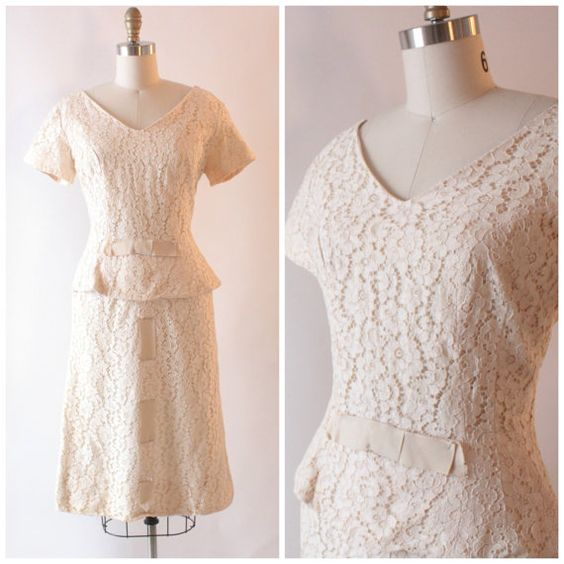 1950s ivory lace peplum wiggle dress by SchoolofVintage on Etsy, $79.00