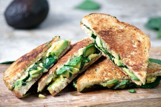 GRILLED CHEESE WITH AVOCADO SPINACH AND PESTO #food #foodporn #foodies