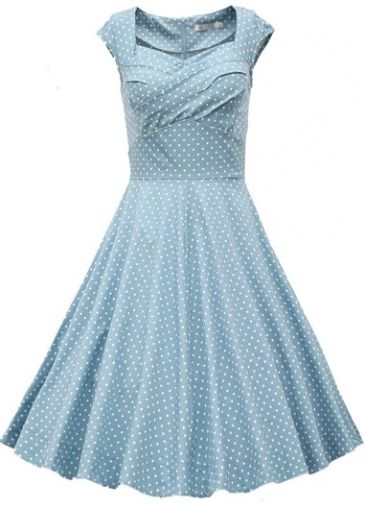 Polka Dot Print Light Blue A Line Dress on sale only US$29.06 now, buy cheap Polka Dot Print Light Blue A Line Dress at modlily.com
