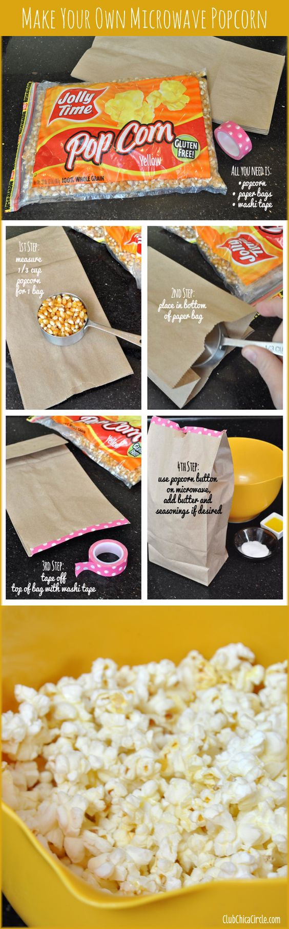 How to make your own homemade microwave popcorn!  www.clubchicacircle.com