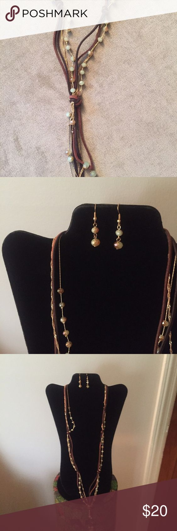 Necklace and Earring Set Multi-strands made of suede and gold plated with light Iridecent beads Jewelry Necklaces