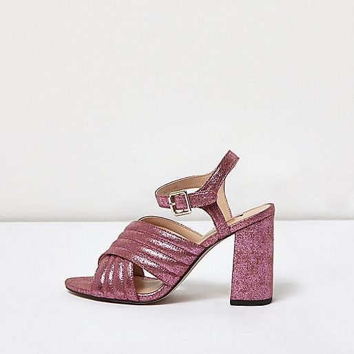 Pink glitter cross strap heels - sandals - shoes / boots - women