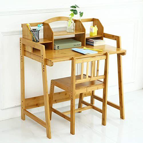 Best Seller Unicoo Bamboo Height Adjustable Kids Desk Chair Set Children Desk Kids Study Table Chair Set Kids Desk Set Nature 01 Online Fayafashion In 2020 Study Table