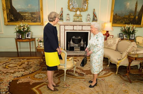 Britain's new Prime Minister, Mrs May, had her first official audience with the Queen after David Cameron went in to formally tender his resignation - 13th July 2016
