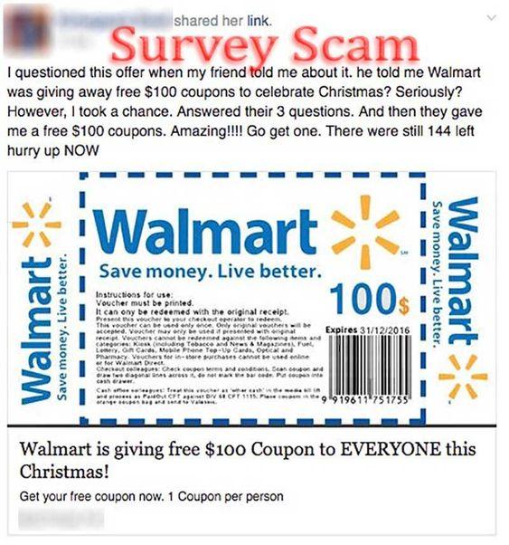Walmart $100 Coupon Giveaway Scam