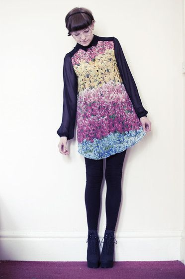 Love Rainbow Floral Blouse, Asos Wedge Boots
