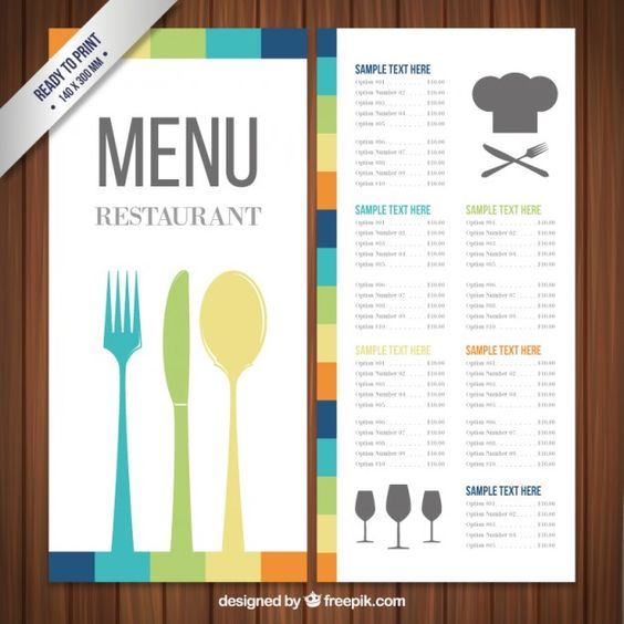Menu placemat food restaurant brochure, menu template design - sample menu template