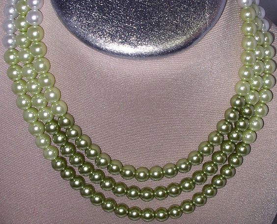 Shades of Pistachio color pearls three strand choker by SHRISHTI, $60.00
