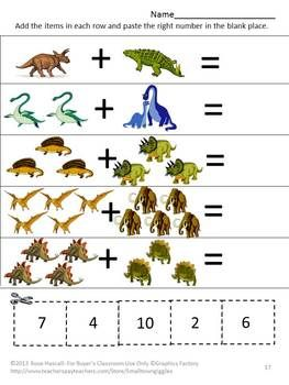 math worksheet : dinosaurs cut and paste worksheets  cut and paste dinosaurs and  : Dinosaur Worksheets For Kindergarten