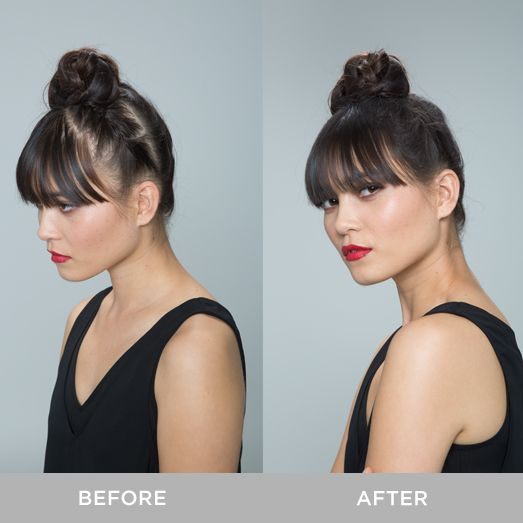 xfusion keratin hair fibers and the hairline optimizer were used