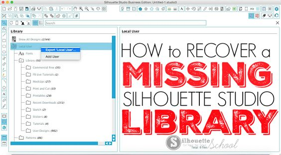 I have been getting more and more frantic emails recently from Silhouette School readers who have lost their Silhouette Studio library. First - don't panic. Unless your computer crashed and you never