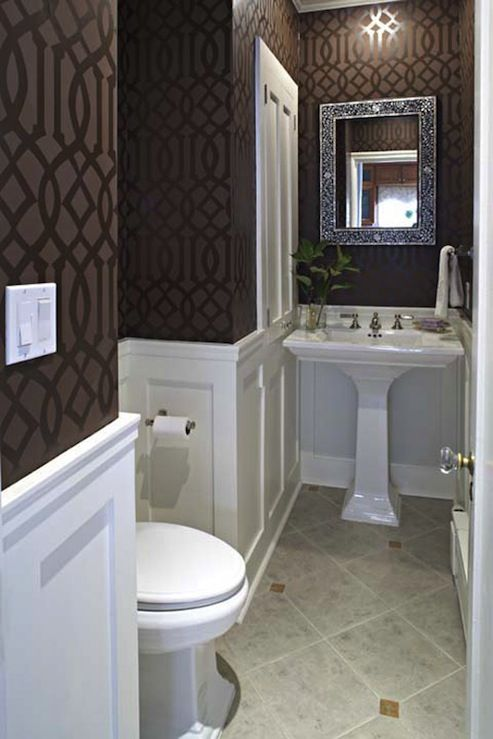Wainscoting and strategic use of dark and light make room look larger. Base coat it matte, stencil is high gloss.