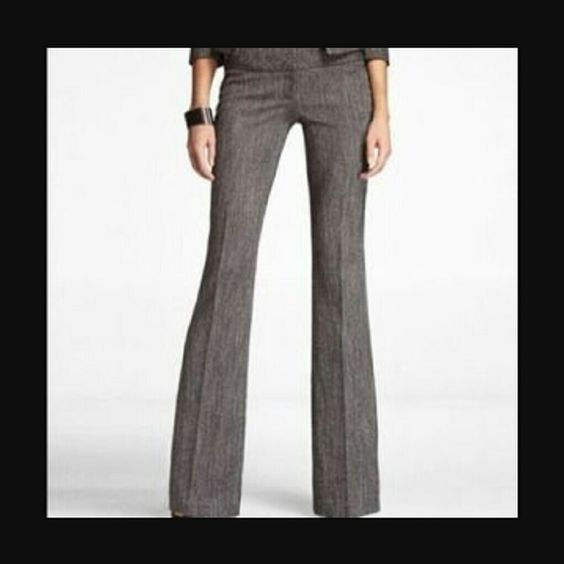 Express Editor Pants Dark gray Express Editor with wide waistband.  The hem is coming out of the left pant leg (pictured) however, nothing a simple tack won't fix.  Other than this they are like new!  Size: 8L Express Pants
