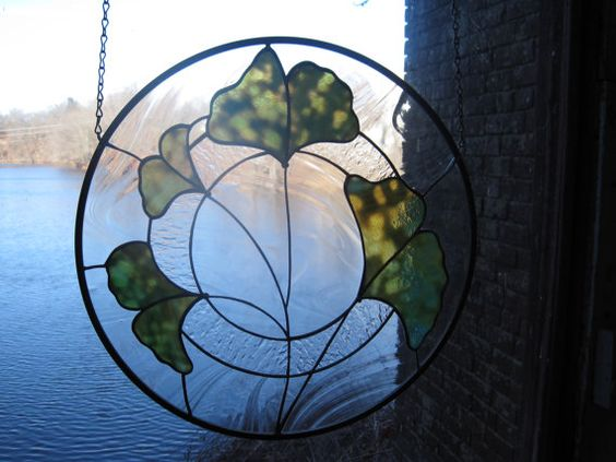 Stained Glass Round Gingko Leaf Panel by RenaissanceGlass on Etsy, $205.00