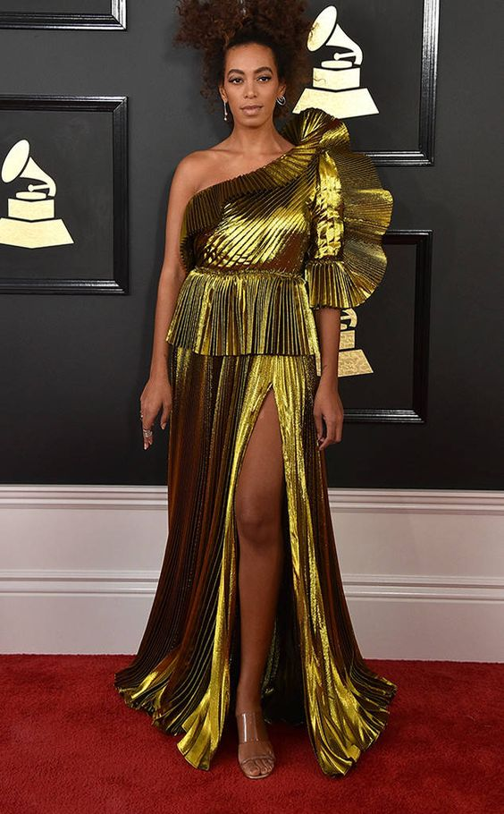 Solange Knowles from Grammys 2017: Best Dressed Celebs  As expected, Solange is a true style star in this metallic gown.
