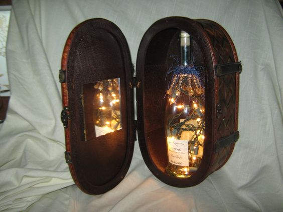 Wine Bottle Lamp, Leather Covered Box with Mirror. $20.00, via Etsy.