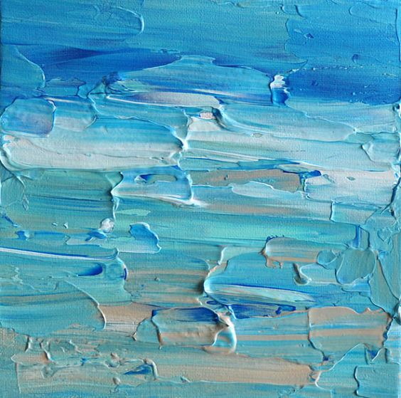 Textured Seascape - Original abstract palette knife painting 8x8 Inch
