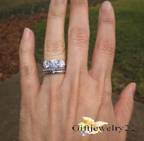 2.10 Cts Brilliant Solitaire Diamond Engagement Ring Solid 14k White Gold